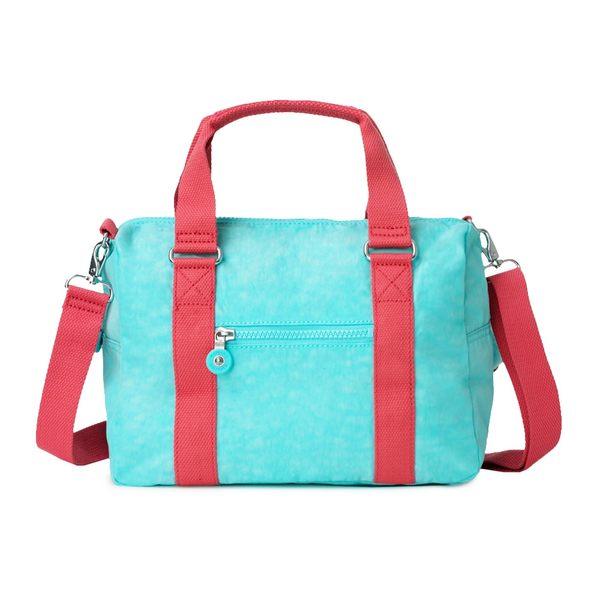 Kipling 糖果色調薄荷綠撞色手提側背包-CASKA