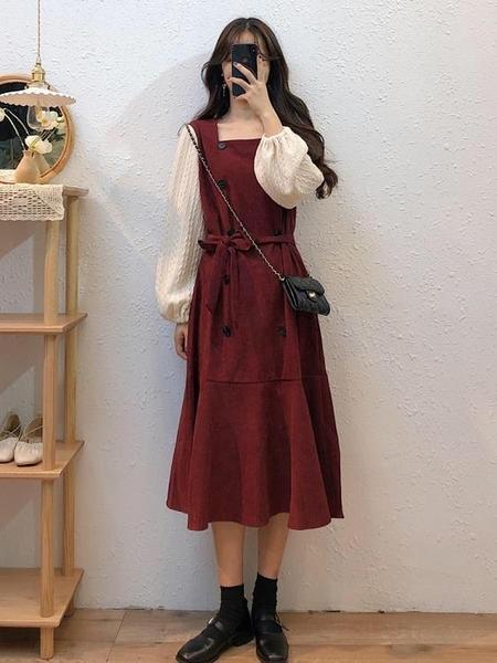 秋冬裙子女新款中長款收腰復古設計感氣質紅色方領長袖連身裙 智慧e家