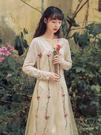 【GZ56】長袖洋裝 時尚杏花色重工刺繡亮片拼接 修身針織長袖百搭連身裙