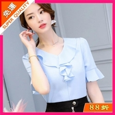 新款韓版中大尺碼顯瘦中袖女裝時尚百搭純色休閒雪紡衫 超值價