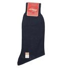 S.T.Dupont 經典刺繡LOGO純棉紳士襪(深藍色)980047