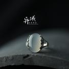 飾品 手工鑲嵌 白玉髓雕花復古款戒指指環