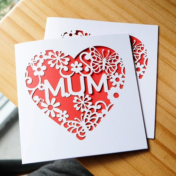 【BlueCat】母親節愛心鏤空珠光賀卡 母親節賀卡 教師節賀卡 明信片 感謝卡 手寫卡片 卡片 媽媽