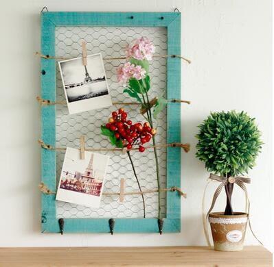 新款家居壁掛實木留言板美式鄉村鐵絲網便簽板地中海古藍色質牆飾