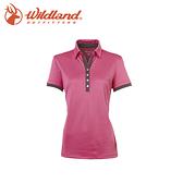 【Wildland 荒野 女椰炭本布領抗UV上衣/蜜粉紅】0A0160322/抗靜電/抗紫外線/POLO衫