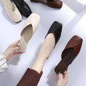 半拖鞋女半拖鞋女夏季方頭平底鞋包頭韓版學生外穿復古百搭奶奶鞋 【新品熱賣】