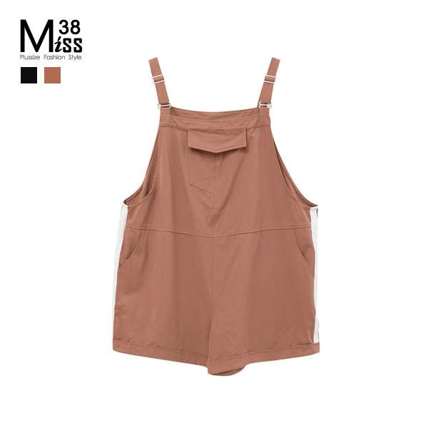 Miss38-(現貨)【A03272】大尺碼吊帶短褲 斜紋棉布 寬鬆休閒 純色百搭 薄款 背帶褲 連身短褲-中大尺碼