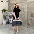 造型百褶裙,黑灰白撞色拼接,寬鬆造型款