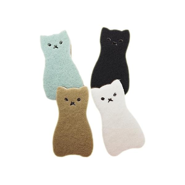日本貓咪造型仿絲瓜清潔海綿(4入)【小三美日】洗碗布/菜瓜布 原價$89