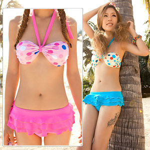 兩件式二件式泳衣泳裝.甜美女孩.俏麗圓點綁帶比基尼二件式泳衣.溫泉泡湯泳裝.推薦哪裡買