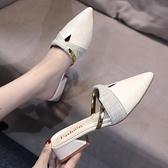 網紅尖頭半拖鞋女外穿中跟韓版百搭時尚懶人一字拖粗跟包頭女拖鞋 依凡卡時尚