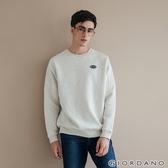 【GIORDANO】男裝Dreamers復古刺繡布章大學T恤-21 花紗月巖淺花灰