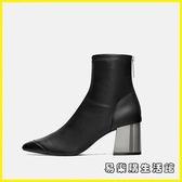 粗跟短靴女18秋冬新款ra黑色方高跟馬丁靴圓頭后拉鏈彈力瘦瘦靴