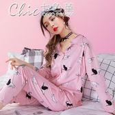 哺乳睡衣 純棉月子服春產後孕婦睡衣哺乳衣薄款喂奶家居服套裝「Chic七色堇」
