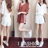 運動套裝女夏學生韓版寬鬆拼色短袖t恤闊腿短褲休閒時尚兩件套潮-ifashion