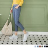 《BA3314》多色素面腰鬆緊綴橫條造型高含棉彈性七分褲 OrangeBear