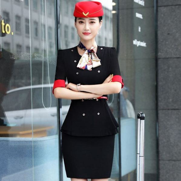OL中袖西裝外套~*艾美天后*~中袖西裝外套修身空姐制服西裝女職業前台美容師