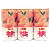 韓國【SAKI】白桃顆粒風味果汁 180ml×6入