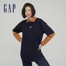 Gap女裝 Logo純棉質感厚磅短袖T恤 694721-海軍藍