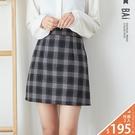 褲裙 方塊格紋毛呢料後拉鍊短裙M-L號-...