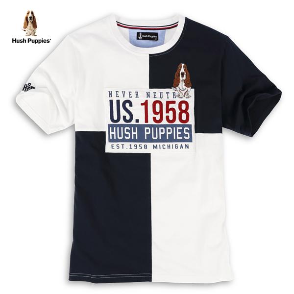 Hush Puppies 上衣 男裝配色剪接貼布圖騰刺繡上衣