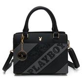 PLAYBOY-  手提包附長背帶 魅力拼接系列 -黑色