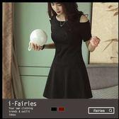 現貨+快速★短袖洋裝 露肩修身連身裙★ifairies【37102】