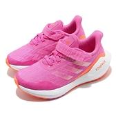 adidas 慢跑鞋 EQ21 Run EL K 粉紅 白 童鞋 中童鞋 運動鞋 魔鬼氈【ACS】 FX2255