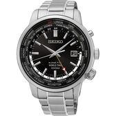 SEIKO精工 KINETIC 世界時間手錶-黑x銀/43mm 5M85-0AF0D(SUN069P1)
