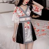 現貨夜場裙日系連身裙性感顯瘦改良和服女【雲木雜貨】