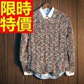 長袖毛衣-美麗諾羊毛韓風保暖套頭男針織衫63t10[巴黎精品]