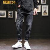 彈力寬鬆牛仔褲男秋季加肥加大尺碼黑褲子2018新款潮胖收腳哈倫長褲
