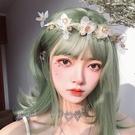整頂假髮(短髮)-空氣齊瀏海松葉綠直髮女假髮73xx1[時尚巴黎]