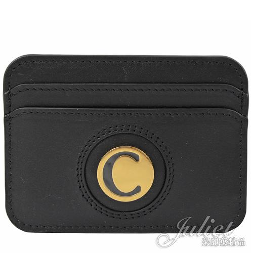 茱麗葉精品【專櫃款 全新現貨】CHLOE 經典C LOGO 全牛皮信用卡名片夾.黑