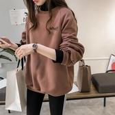 秋冬大碼女裝刺繡半高領加絨衛衣T恤胖妹妹顯瘦假兩件打底衫上衣 韓語空間