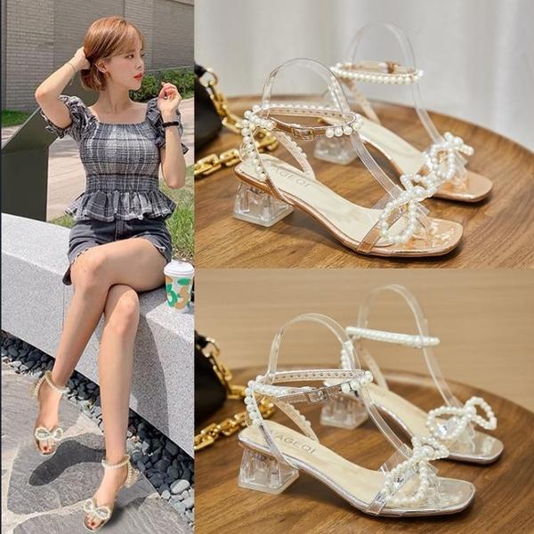低跟鞋 小香風時裝涼鞋女夏季中跟2021新款百搭方頭珍珠蝴蝶結粗跟高跟鞋