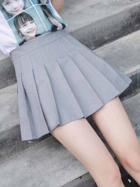 短裙 新款百褶裙ulzzang軟妹短裙女夏高腰A字裙學生防走光格子半身裙褲