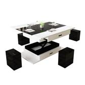 多功能茶几 茶幾餐桌兩用現代簡約客廳小戶型創意家具升降多功能折疊玻璃茶幾  交換禮物DF