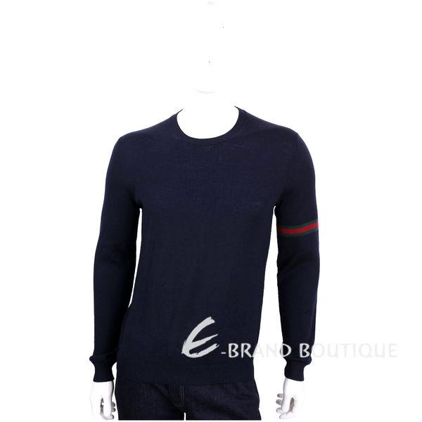 GUCCI 深藍色織帶設計圓領羊毛針織長袖上衣(100%WOOL) 1620250-23
