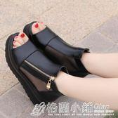 魚嘴羅馬鞋厚底鬆糕跟涼鞋女士時尚網紗面側拉鏈女鞋潮 格蘭小舖