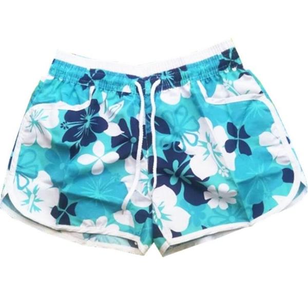 海灘褲 沙灘褲女夏度假印花短褲碎花加大碼時尚熱褲可愛運動褲寬鬆速干潮 夢藝