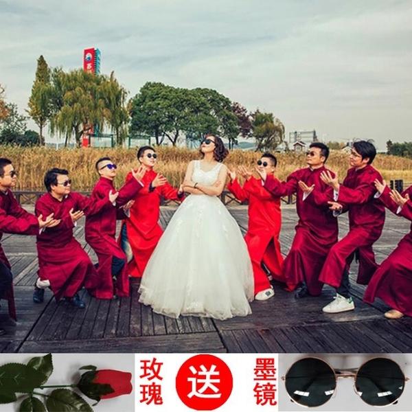禮服洋裝 中式結婚禮服伴郎伴娘服唐裝長衫長袍大褂民國古裝相聲兄弟團禮服