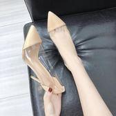 2018夏新款韓版透明細跟性感高跟鞋女士漆皮時尚百搭尖頭涼鞋女潮