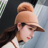 現貨-秋冬季新款復古羊毛馬術帽韓版百搭休閒女生時尚毛球棒球帽子