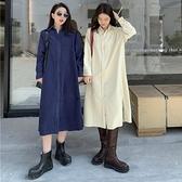 襯衫洋裝 燈芯絨襯衫連身裙女2021秋冬新款韓版氣質寬鬆顯瘦中長款長袖裙子 艾維朵