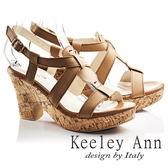★2017春夏★Keeley Ann經典美型~復古交叉真皮仿木質粗高跟涼鞋(棕色)