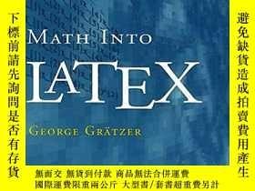 二手書博民逛書店Math罕見Into LatexY256260 George Gr?tzer Birkhauser 出版20
