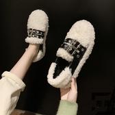 豆豆鞋女韓版冬季百搭保暖加絨棉鞋一腳蹬毛毛鞋【左岸男裝】