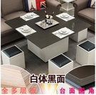 小戶型折疊升降茶幾餐桌兩用多功能變儲物簡約創意圓角茶幾帶凳子DF  瑪麗蘇鞋包精品