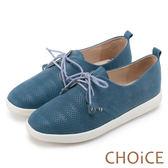 限時特賣-CHOiCE 中性休閒 綁帶打洞牛皮休閒平底鞋-藍色